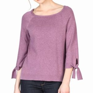 Lilla P Tie Sleeve Boatneck Knit Sweater Purple Lg